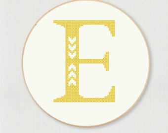 Cross stitch letter E pattern with chevron accent, instant digital download