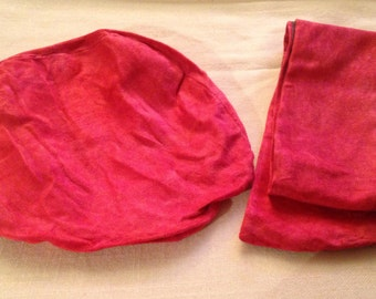 Antique Newsboy Red Hat and Scarf