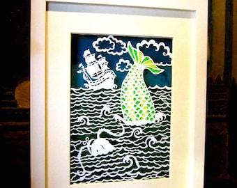 Papercut, Wall Art, Papercutting, Children's Art, Papercut Art, illustration, Ocean Art, Kid's Room Art, Fish Art, Sea, Ship Art, Custom Art