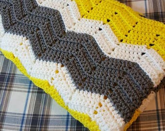 Ready to ship Yellow gray and white crochet baby blanket, crochet blanket, Large baby blanket, Gender Neutral baby blanket, chevron blanket