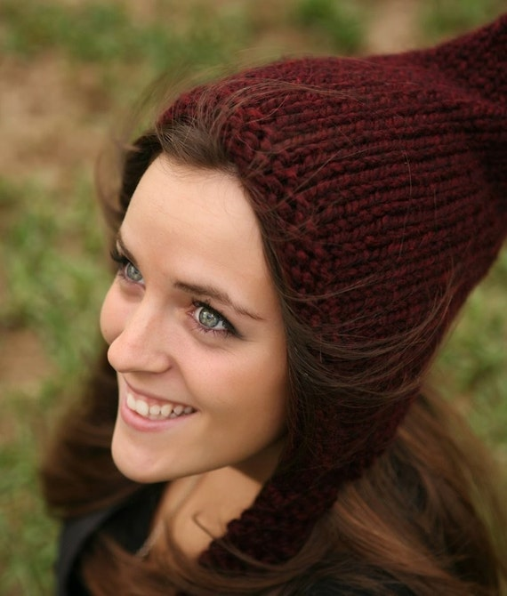 Chunky Knit Hat Women Red Pixie Hat Claret Wine Pixie Hat Wine Knit Hat - Red Hat Wine Hat Womens Accessories Winter Hat - 34 Color Choices