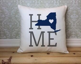 New York Pillow, New York State Pillow, New York Home Pillow, Housewarming  Gift