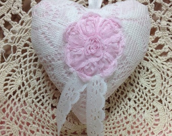 Mothers Day Spring Heart Shaped Pillow Ornament - Hand Stitched - Sachet