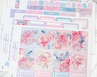 Ava | Planner Sticker Kit, Weekly Kit for Erin Condren, Flowers, Floral Kit, Spring, Summer, Pink, Purple, Blue, Geometric, Neutral, Pastel