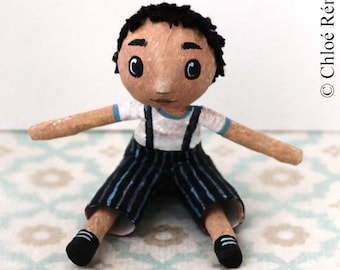 Mini doll boy black striped overalls blue