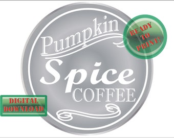 Pumpkin Spice Coffee Printable Silver Mason Jar Labels ~ Small Mouth Lid Holiday Gift Tags ~ Homemade Fall Wedding or Thanksgiving Favors