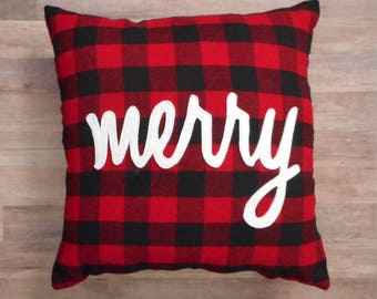 Merry Pillow, Christmas Decoration, Red and Black Plaid, Holiday Decor, cover or with pillow, 18 x 18