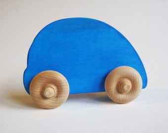 Wooden Blue Beetle Style Car Waldorf Toy Eco Friendly