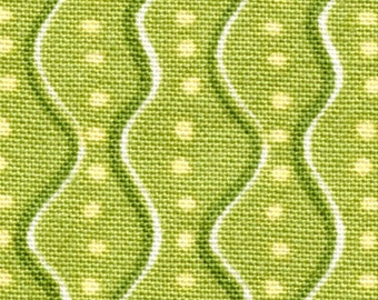 Cottage Basics - Per Yd -  Red Rooster -Green Wavy