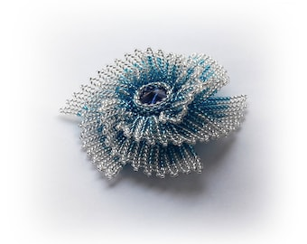 Brooch - flower bead with crystal