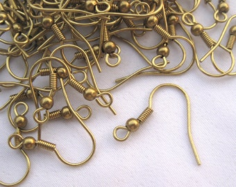 50pcs 19mm Coil Ear Wires French Earring Hook Raw Brass Findings t054