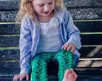 Mermaid leggings Girls Green & Black Baby Toddler metallic Birthday fish scale pants 3 6 12 18 24 months 2T 3T 4T 5T 6 7 costume