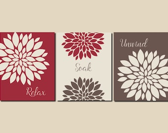 Relax Soak Unwind Red Beige Brown Bathroom Decor Bathroom Wall Art Prints or Canvas Master Bath Guest Bath, Any Color, Set of 3