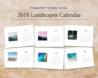 2018 Printable Calendar A4 / Landscape Calendar / 12 month calendar / Digital Download / Instant Download / Photography calendar #01