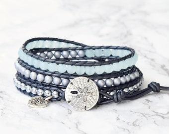 Beaded Leather Wrap Bracelet, Aqua Bracelet, Beach Jewelry, Boho Wrap Bracelet, Sand Dollar Jewelry