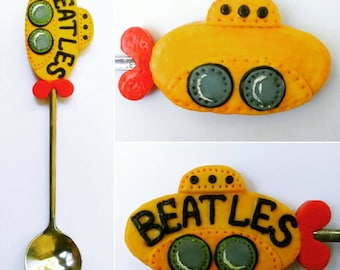 Spoon Spoon with decor Decor Spoon  Yellow submarine Related to beatles Beatles Beatles art Beatles spoon About beatles for Music fans
