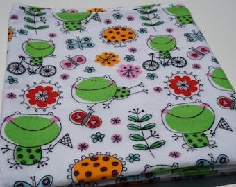 Baby Receiving Blanket, Green Frog Blanket, Colorful Flowers, Baby Boy Blanket, Colorful, Large Blanket, Swaddle Blanket, Flannel Blanket