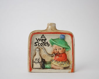 Vintage Ceramic Scotch Decanter Collectible - A Wee Scotch Old Whiskey Bottle Vase - Scottish Lad Decoration