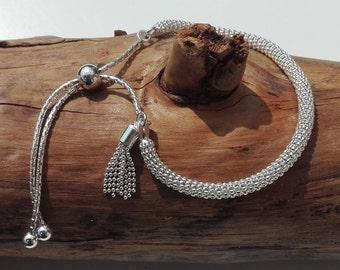 Tassel bracelet in 925 Silver, adjustable, sliding clasp, boho bracelet, women gift, handmade - boho jewelry