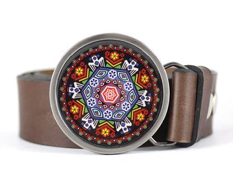 Mandala Belt Buckle, Art Blet Buckle