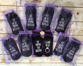 Bachelorette Party Favor, Bridal Party gifts, I Said Yes, He popped the question, So we're poppin' bottles, Bridesmaid Socks, Bride Socks