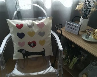Design dog hearts style Face pillow cushion retro Indoor