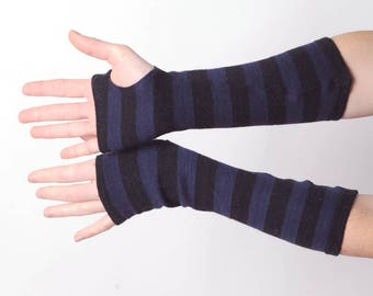 Long striped fingerless gloves, Black and purple stripey armwarmers, Winter accessories, MALAM