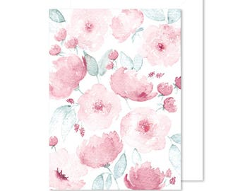 Pink Watercolor Note Card | Blank Card | Thank You Card
