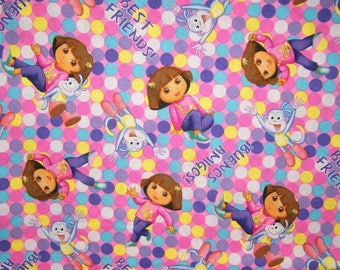 BTY DORA One Hip EXPLORER Print 100% Cotton Quilt Craft Fabric by the Yard