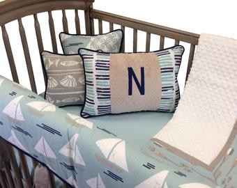 Sail Away Crib Bedding with Rail Guard- 4 Piece Set-Aqua Latte Navy