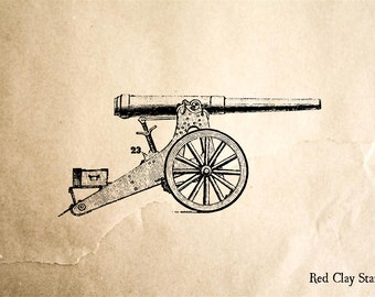 Old Cannon Rubber Stamp - 2 x 2 inches