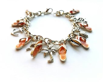 Silver Plated Charm Bracelet with Ocean/Beach Theme Charms, Vintage, Handmade, Bohemian, Gypsy