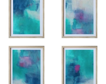 Set of 4 Limited Edition Giclee Prints | Abstract Art | Framed | Ready To Hang