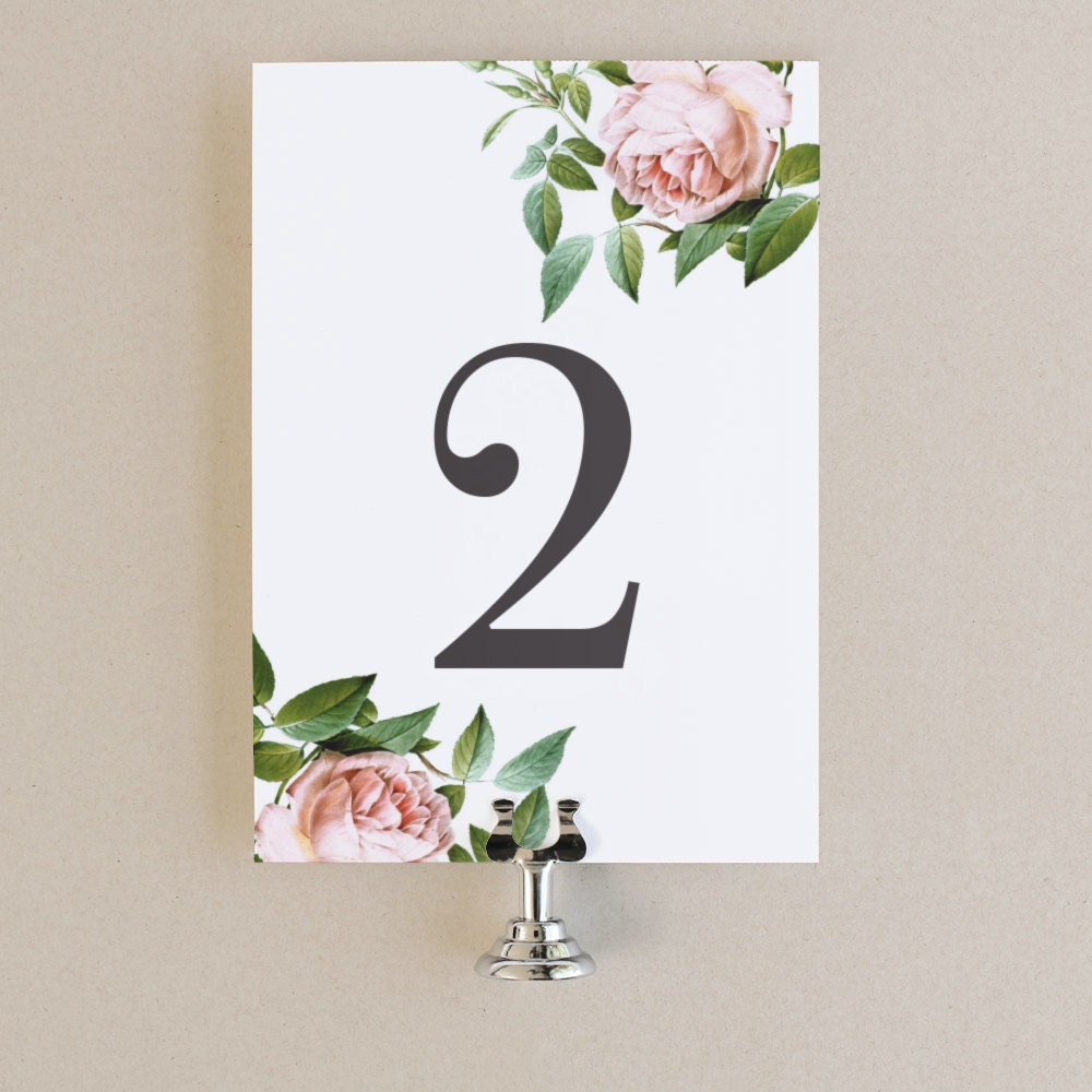 Table Numbers Template DIY Printable Instant DOWNLOAD Vintage - Table number template