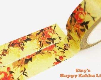Camellia japonica - Japanese Washi Masking Tape - 11 Yards