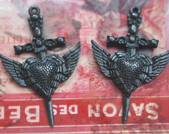 TWO Winged Heart Daggers Pewter Casting Pendants, Black Satin Patina