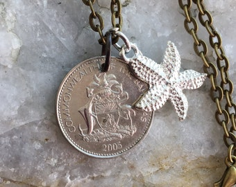 BAHAMA - Pineapple coin - 5 cent coin pendent w/starfish charm on a 24 inch ball chain necklace.
