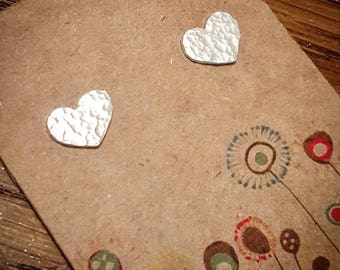 Hammered texture Sterling Silver Heart Stud Earrings - gifts for her, perfect for Birthdays! Matching necklaces available