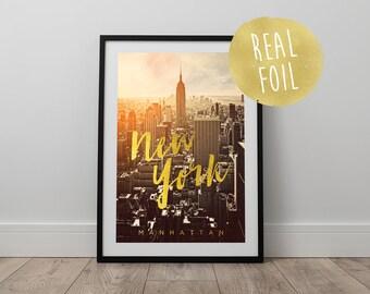 Real Gold Foil New York Print - Travel, Wanderlust, New York, Manhattan, The Big Apple, Sunset, Wall Art, Office Art, Modern Art, Home Decor