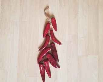 Chili Ristra Jute Braided Rope with Ceramic Red Chili Peppers Wall Hanging Vintage