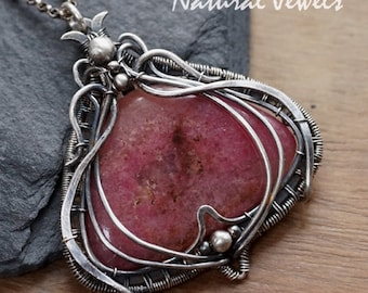 Silver pendant with Rhodonite, handmade silver Art Nouveau pendant with a cabuchon of the pink gemstone Rhodonite
