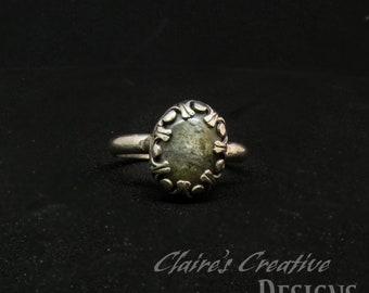 Silver Labradorite Ring/ Nebula Ring/ Fine Silver Ring/ Fantasy Ring/ size 11
