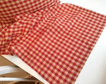 Red and Beige Checks Table Runner