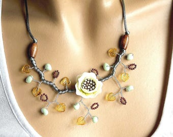 Cold porcelain and silver grey satin Camellia necklace