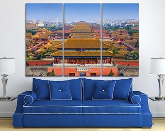 3 Piece Forbidden City, Beijing, China Leather Print/Large Beijing Print/China Wall Art/Multi Panel Print/Made in Italy/Better than Canvas!