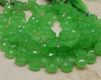 10 mm ,Apple Green Chalcedony Heart Briolette's, 8 Inch