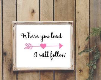 Where You Lead Gilmore Girls Theme Song Digital Printable Wall Art 8x10