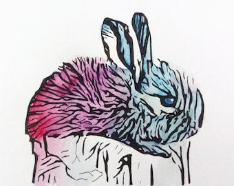 Aquarelle originale «petit lapin»