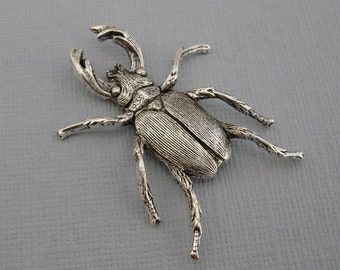 Large Beetle Scarab Ox  Silver over Brass Stamping Ornament Pendant Jewelry Findings.