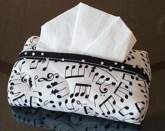 Tissue Holder Quilted - Musical Notes